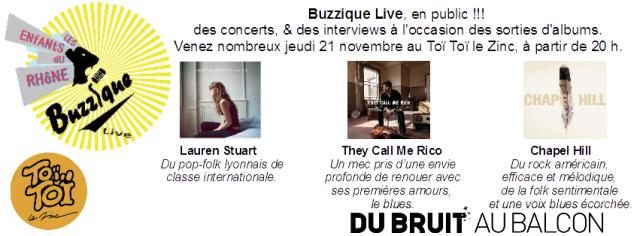 Buzzique live au Toï-Toï le Zinc à Villeurbanne (69), jeudi 21 novembre.