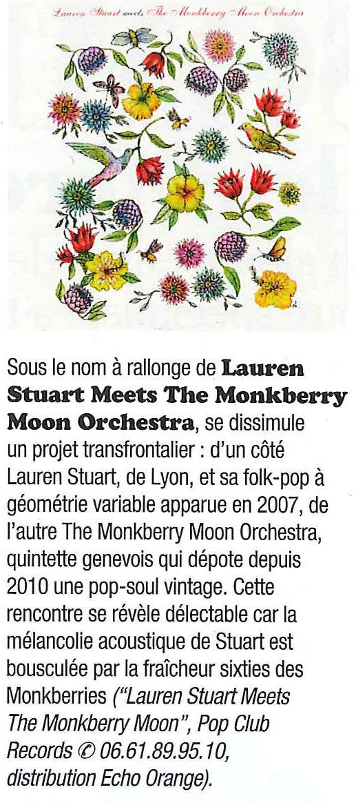 Lauren Stuart meets the Monkberry Moon Orchestra dans Rock & Folk, décembre 2016.